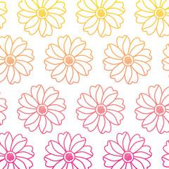 seamless pattern flower natural decoration vector illustration line color