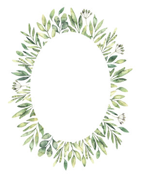 Hand drawn watercolor illustration. Botanical oval label of green branches and leaves. Spring mood. Floral Design elements. Perfect for invitations, greeting cards, prints, posters, packing etc