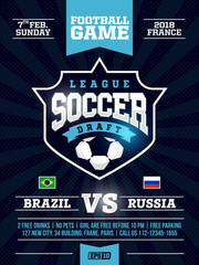 modern professional sports flyer design with soccer league in blue theme