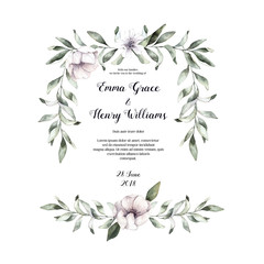 Hand drawn watercolor illustration - Floral frame. Spring branches with anemone flowers and feathers. Perfect for wedding invitations, greeting cards, certificates, prints and more