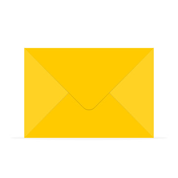 Yellow envelope icon. Vector illustration