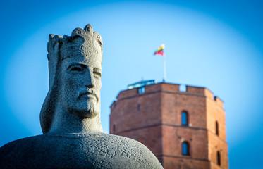 Mindaugas statue near Gediminas castle