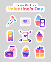 Collection of trendy neon vector stickers. Colorful illustrations with heart, cup, arrow, gift, cupcake. Cute gradient icons with white isolated background.