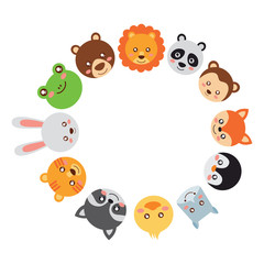 cute animals circle with head wildlife funny vector illustration