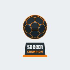 Soccer Football Logo Template. Modern Sport Ball Emblem Trophy Design on a Light Background