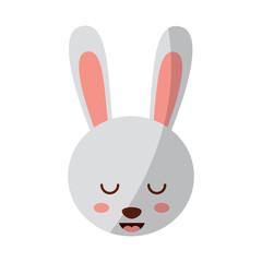 cute head rabbit animal close eyes cartoon vector illustration