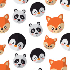 seamless pattern cute animals face image vector illustration