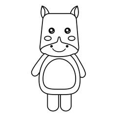 cute animal hippo standing cartoon wildlife vector illustration outline design