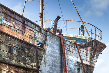 Details of an old abandoned ship in a ship cemetery, Camaret Sur Mer, France