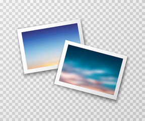 Photo frames with blurred landscapes. Vector photography template. Nostalgia background