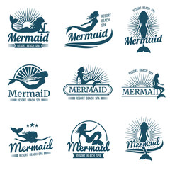 Mermaid silhouette stylized vector logos collection