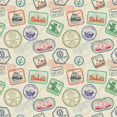 Vintage passport travel stamps vector seamless pattern