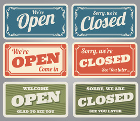 Vintage open and closed vector shop signs