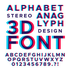 Stereoscopic stereo 3d vector letters and numbers. Colorful glitch alphabet
