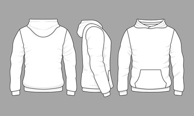 Male hoodie sweatshirt in front, back and side views