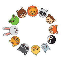 cute animals in circle  icon image vector illustration design