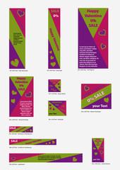 Templates für Valentin-Banner in bunten, kräftigen Farben. 11 Banner im Set