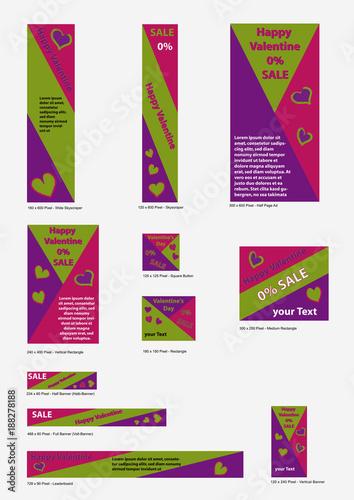 Templates für Valentin-Banner in bunten, kräftigen Farben. 11 Banner ...