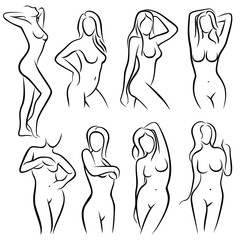 Young female body outline silhouettes vector beauty logos