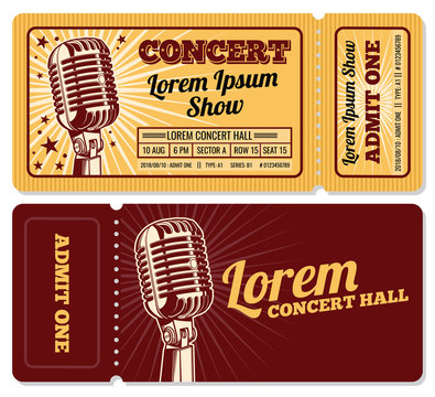 Event or concert ticket admission entry isolated vector template