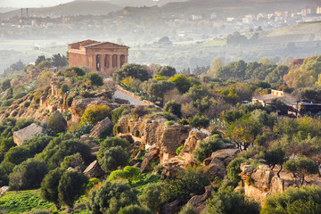 Wall Murals Place of worship Agrigento, Sicily island in Italy. Famous Valle dei Templi, UNESCO World Heritage Site. Greek temple - remains of the Temple of Concordia.