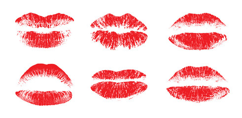 Female beautiful lips, lipstick kiss vector silhouettes isolated. Amour design elements