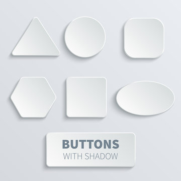 White 3d blank square and rounded button vector set