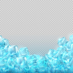 Realistic ice cubes isolated on transparent background. Vector food and drink ads template
