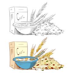 Sketch porridge corn flakes and muesli isolated on white background