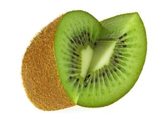 Sliced kiwi fruit isolated on a white background
