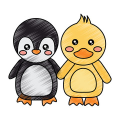 cute animals penguin and duck holding hands vector illustration drawing design