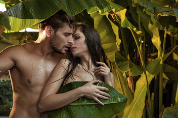 Portrait of a sensual couple in a tropical forest