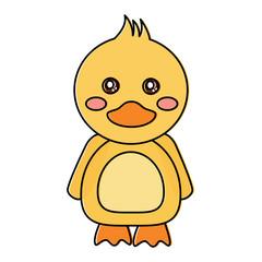 cute animal duck standing cartoon wildlife vector illustration