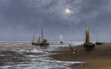 Sea paintings landscape, fisherman, oil digital art