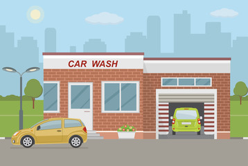 Car wash station and two cars on city background. Flat style, vector illustration.