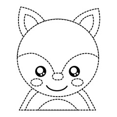 fox cute animal icon image vector illustration design  black dotted line