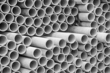 Asbestos pipes for drain in construction site. Texture for background.