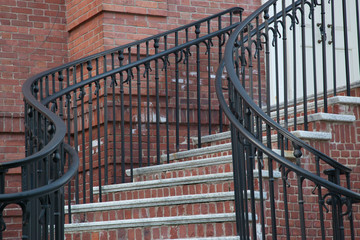 Brick curved stairway with shapely curves