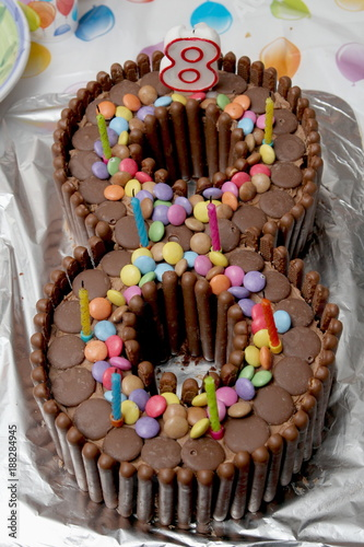 Birthday Cake In The Shape Of A Number Eight Made From Chocolate Buttons Smarties