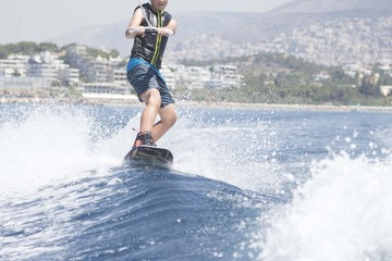 wakeboarding on wave