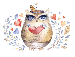 I love you. Lovely watercolor illustration with sweet owls, hearts and flowers in awesome colors. Stunning romantic valentines day owl card made in watercolor technique.
