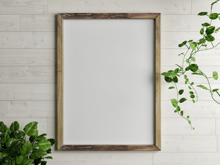 Wooden free frame with green plant on wooden wall, 3d render, 3d illustration