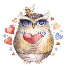 I love you. Lovely watercolor illustration with sweet owls, hearts and flowers in awesome colors. Stunning romantic valentines day owl card made in watercolor technique. Bright Valentines