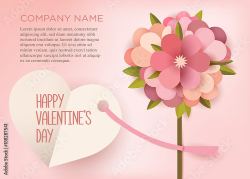 Greeting Card. Bouquet Of Paper Flowers On A Pink Background With A Text  Frame.  Greeting Card Format