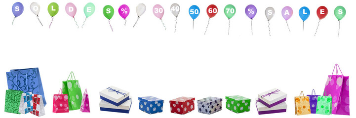 Panoramic, image ,with ,flying ,Balloons,with ,sale ,letters, ,and ,numbers, percentgage off ,on ,th, thop, and ,multicolored shopping bag and packs at the bottom