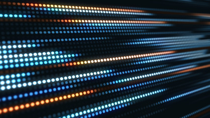 Abstract motion background, blue and orange light streaks 3d illustration