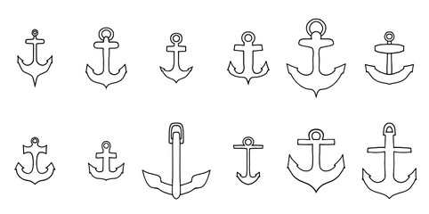 anchor outline icon set