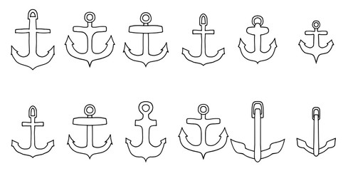 anchor outline icon set