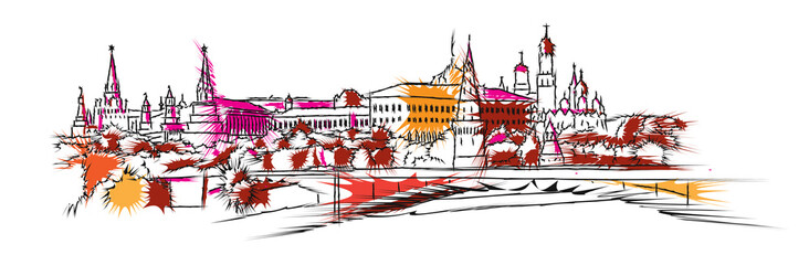 Moscow colored skyline sketch