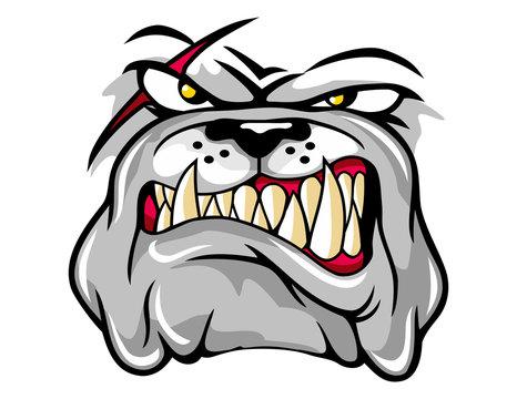 illustration of angry bulldog mascot cartoon character in vector